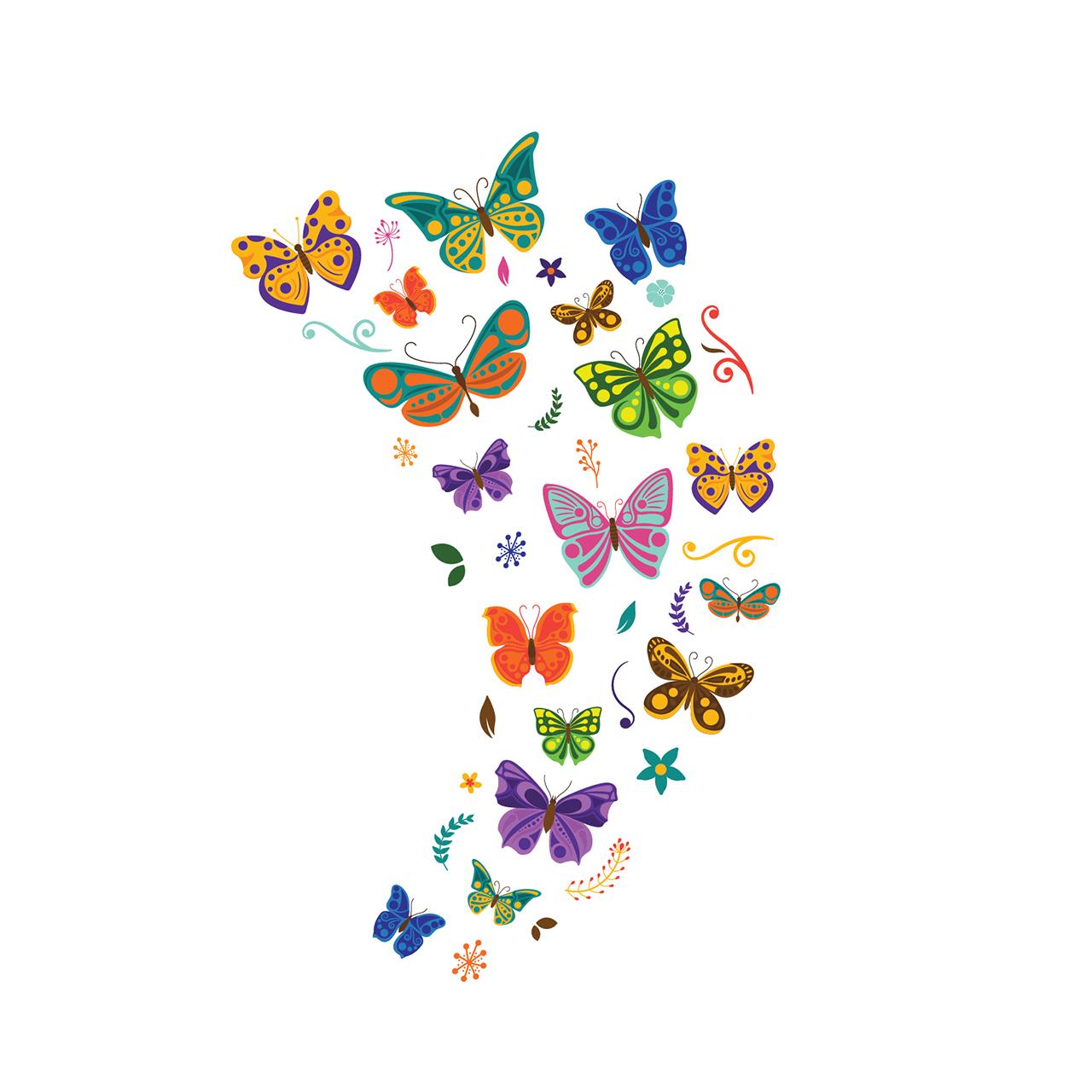 استیکر دیواری سالسو طرح پروانه های رنگارنگ a.z