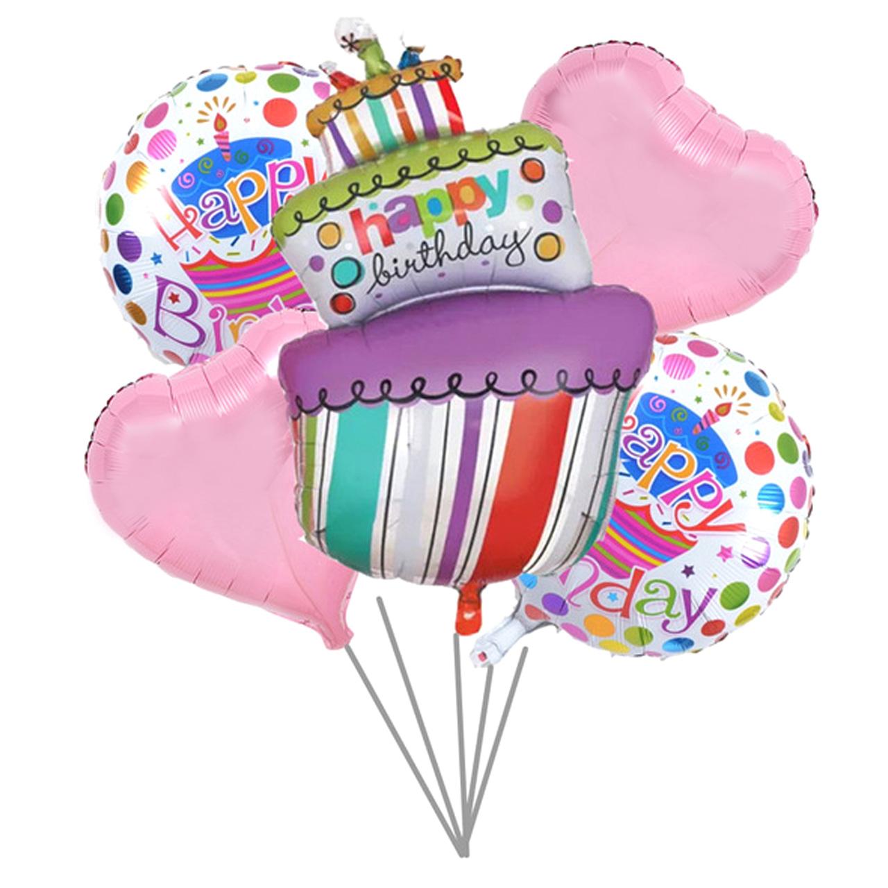 عکس بادکنک فویلی 5تکه بانیبو مدل Happy Birthday Cake01 سایز 150