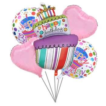 بادکنک فویلی 5تکه بانیبو مدل Happy Birthday Cake01 سایز 150