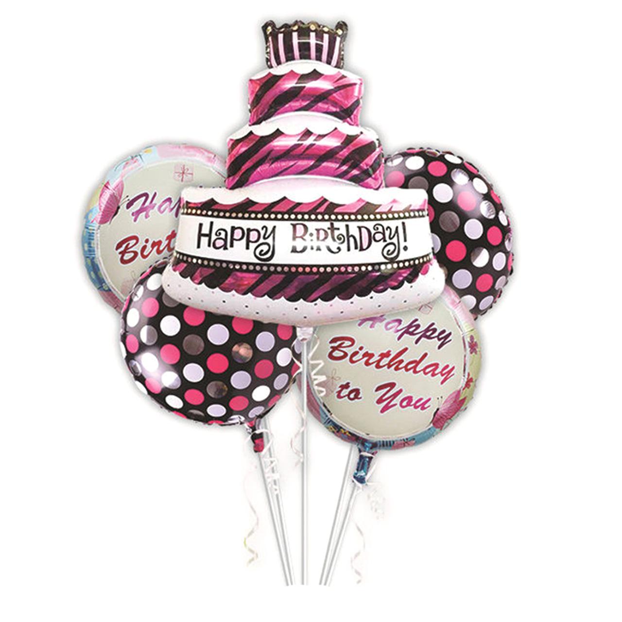 عکس مجموعه بادکنک فویلی 5 تکه بانیبو مدل Happy Birthday Cake02 سایز 150
