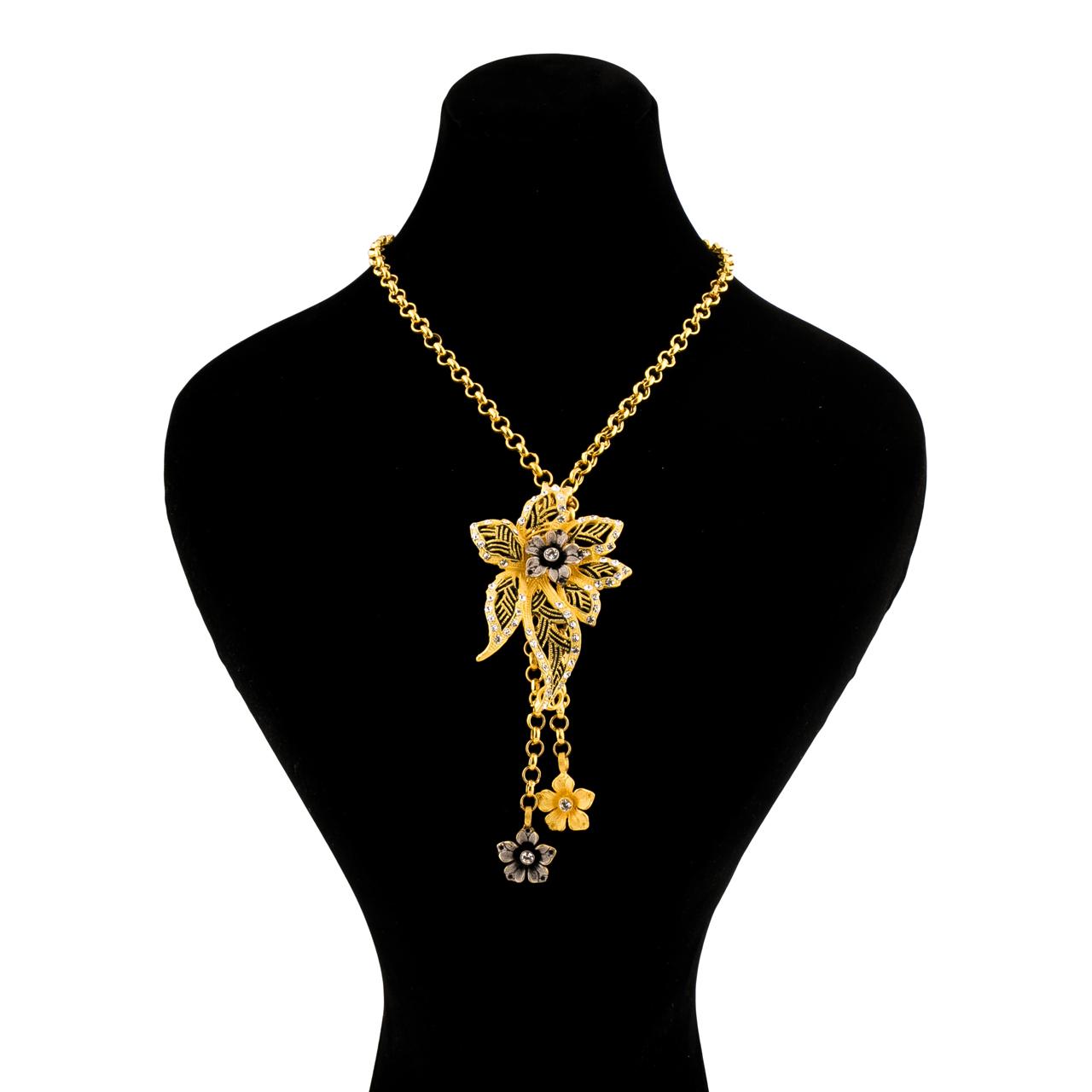گردنبند طلا 18 عیار گالری طلاچی مدل گل