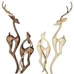 پیکره چوبی برکت طرح غزال پیچی کلاسیک مدل WS1083 مجموعه چهار عددی