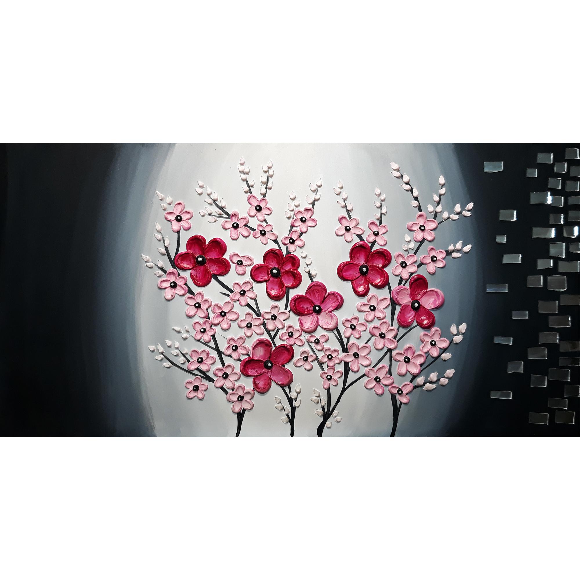 تابلو نقاشی میکس مدیا طرح شکوفه های گیلاس برجسته کد 111