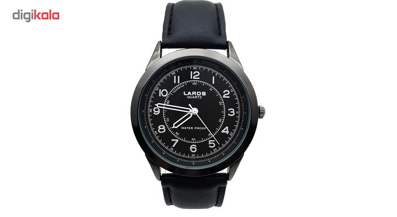 ساعت مچی عقربه ای مردانه لاروس مدل80047S-Black به همراه جاسوییچی طرح ابزار