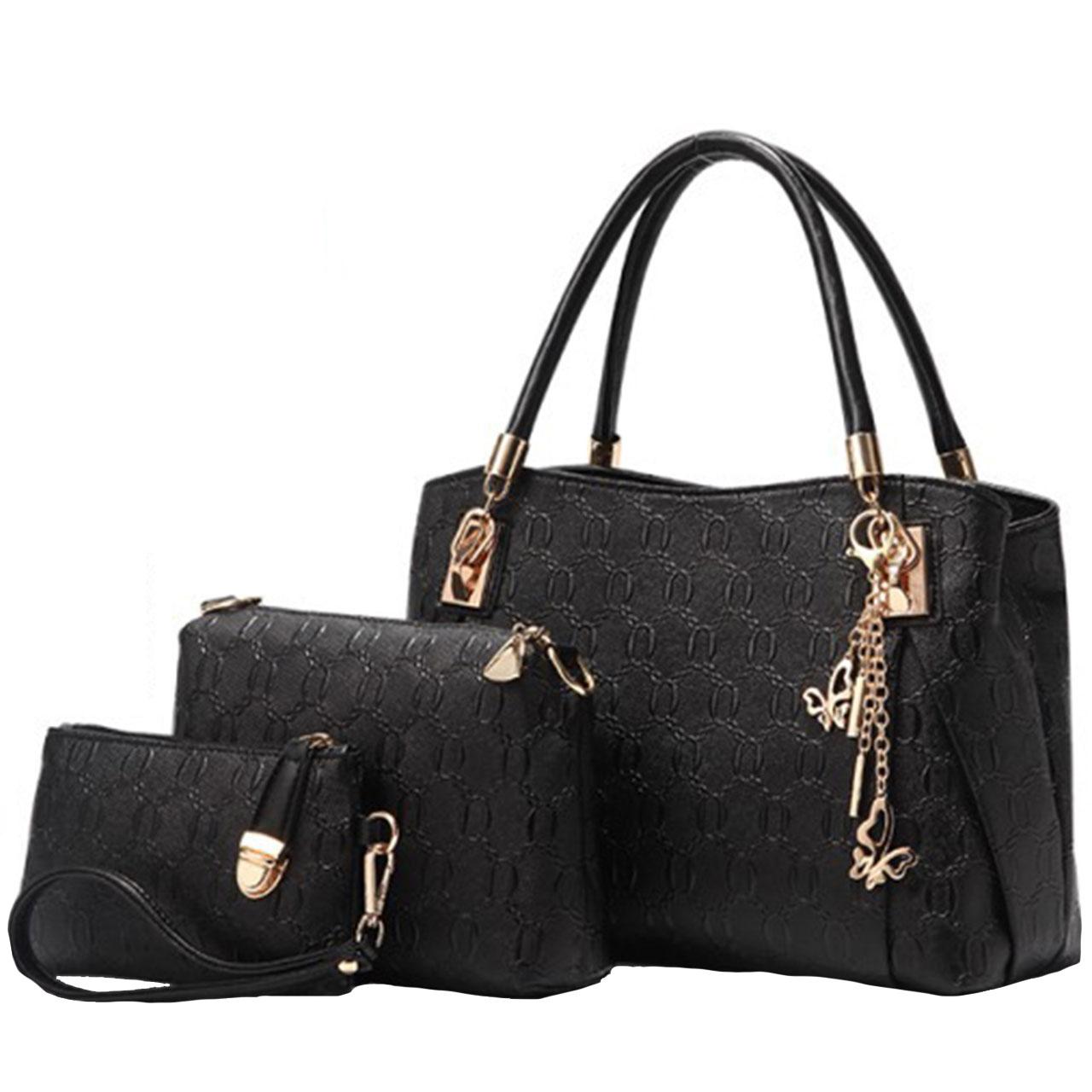 ست کیف دستی و رودوشی مدل LH3-158-Black