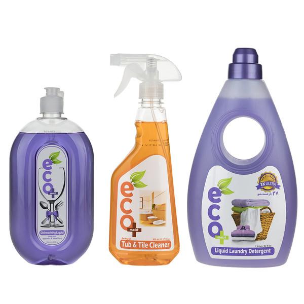 پک مایع ظرفشویی، لباسشویی و پاک کننده چند منظوره سطوح ایکو مویست بسته 3 عددی