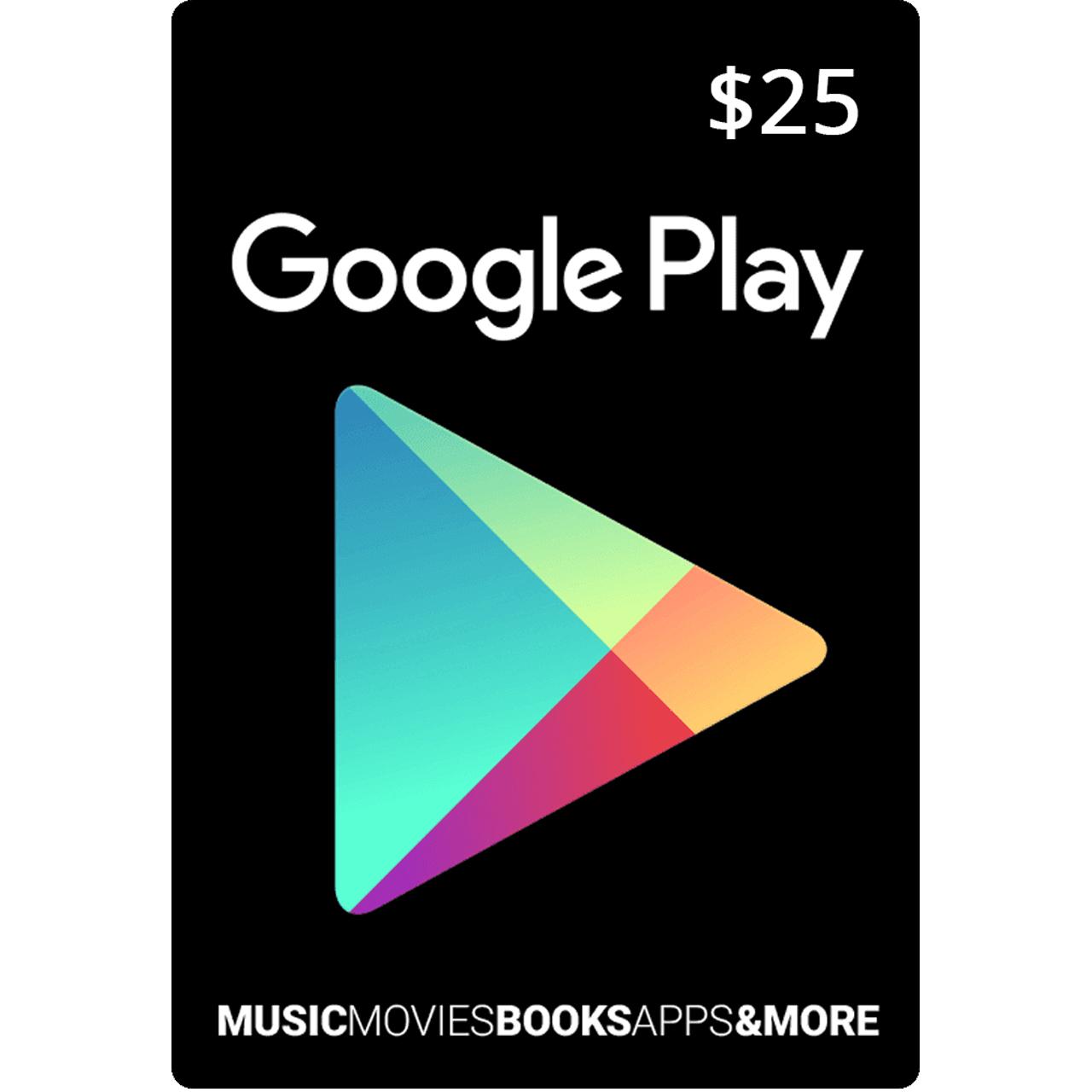 گیفت کارت 25 دلاری گوگل پلی آمریکا