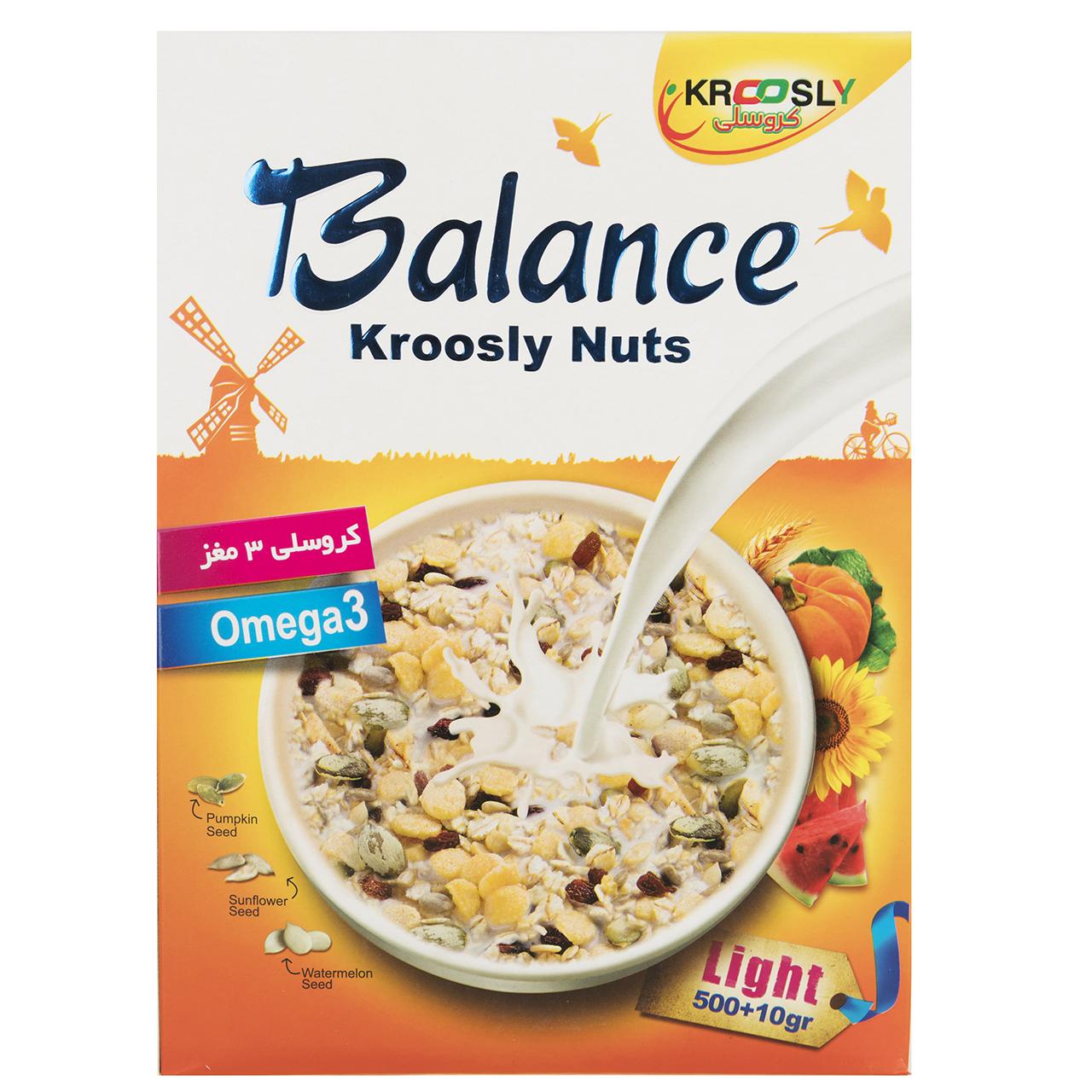 غلات صبحانه 3 مغز کروسلی مدل Balance مقدار 500 گرم