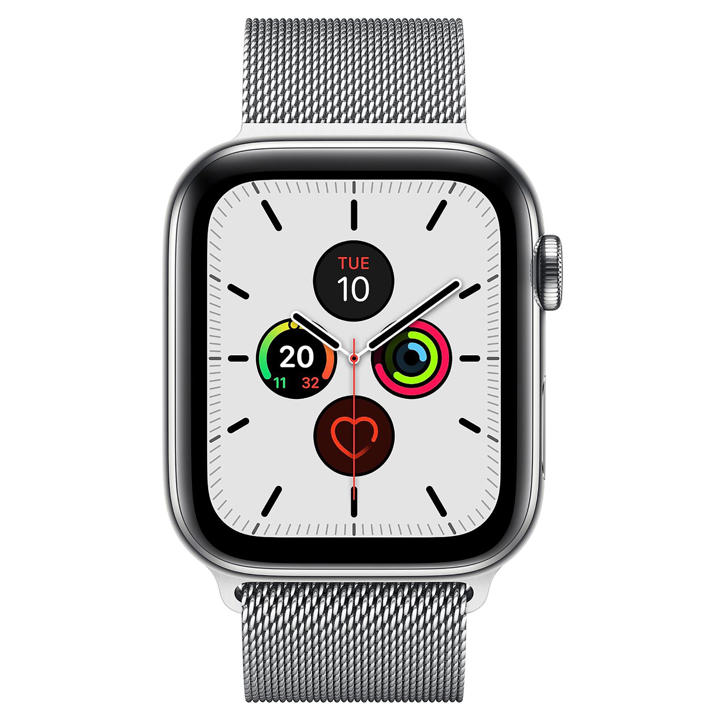 ساعت هوشمند اپل واچ سری 5 مدل 44mm Stainless Steel Case with Milanese Loop