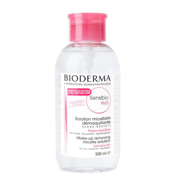 محلول پاک کننده آرایش صورت بایودرما مدل Sensibio H2O پمپی حجم 500 میلی لیتر