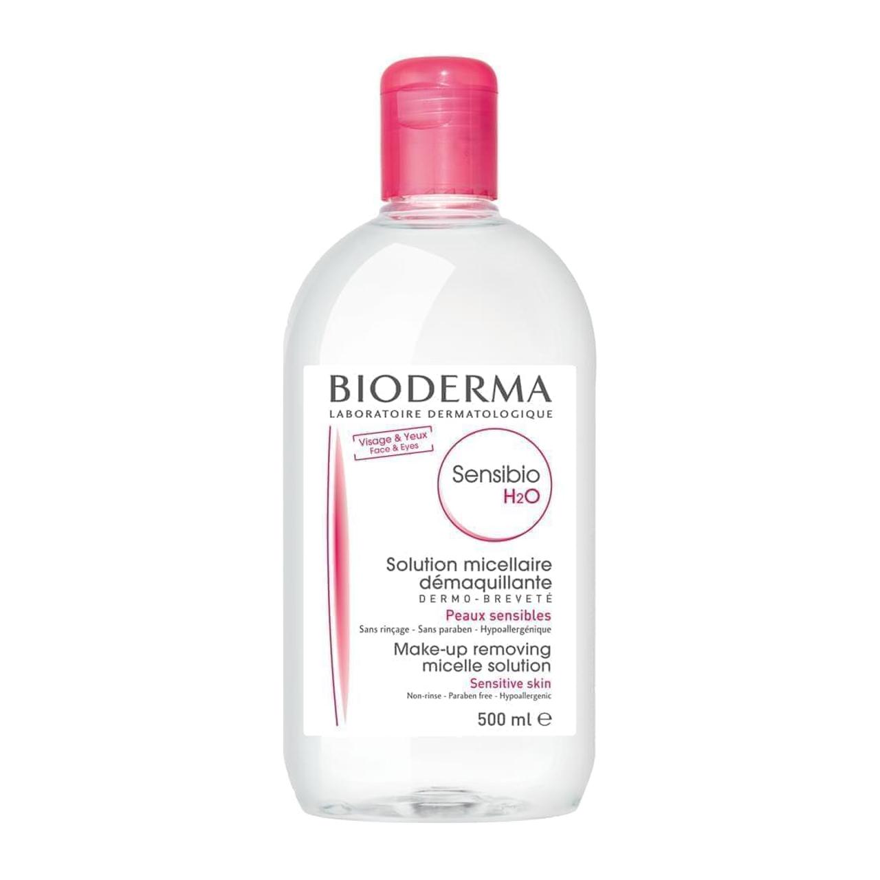 محلول پاک کننده آرایش بایودرما مدل Sensibio H2O حجم 500 میلی لیتر