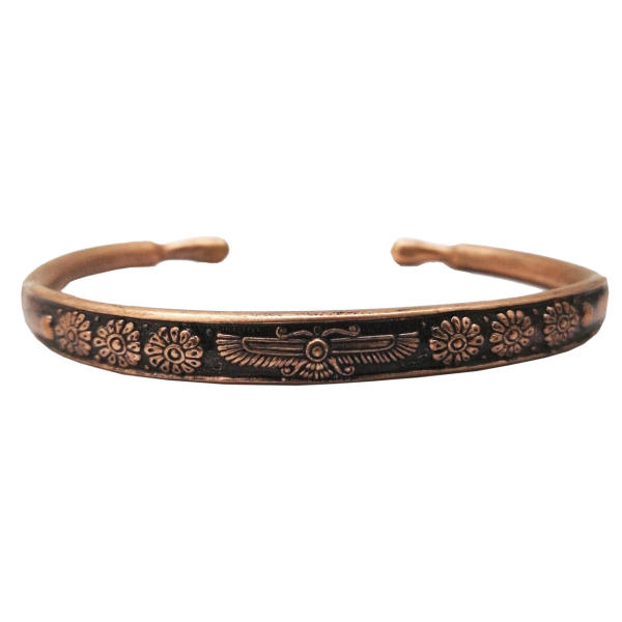 دستبند مسی طرح فروهر مفتولی سایز 1