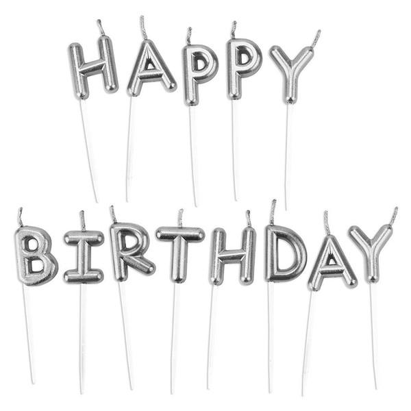 شمع تولد بانیبو مدل Silver Happy Birthday