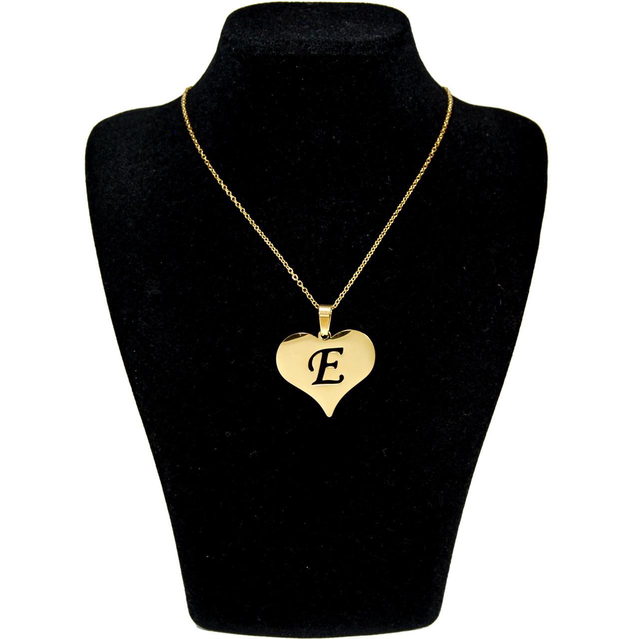 گردنبند آی جواهر طرح E و قلب کد 11560GH