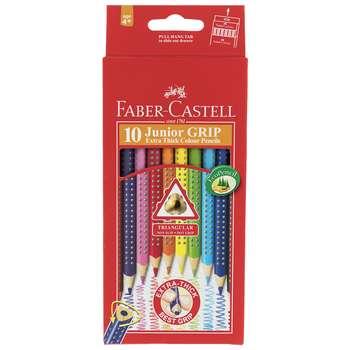 مداد رنگی 10 رنگ فابر کاستل مدل Junior Grip