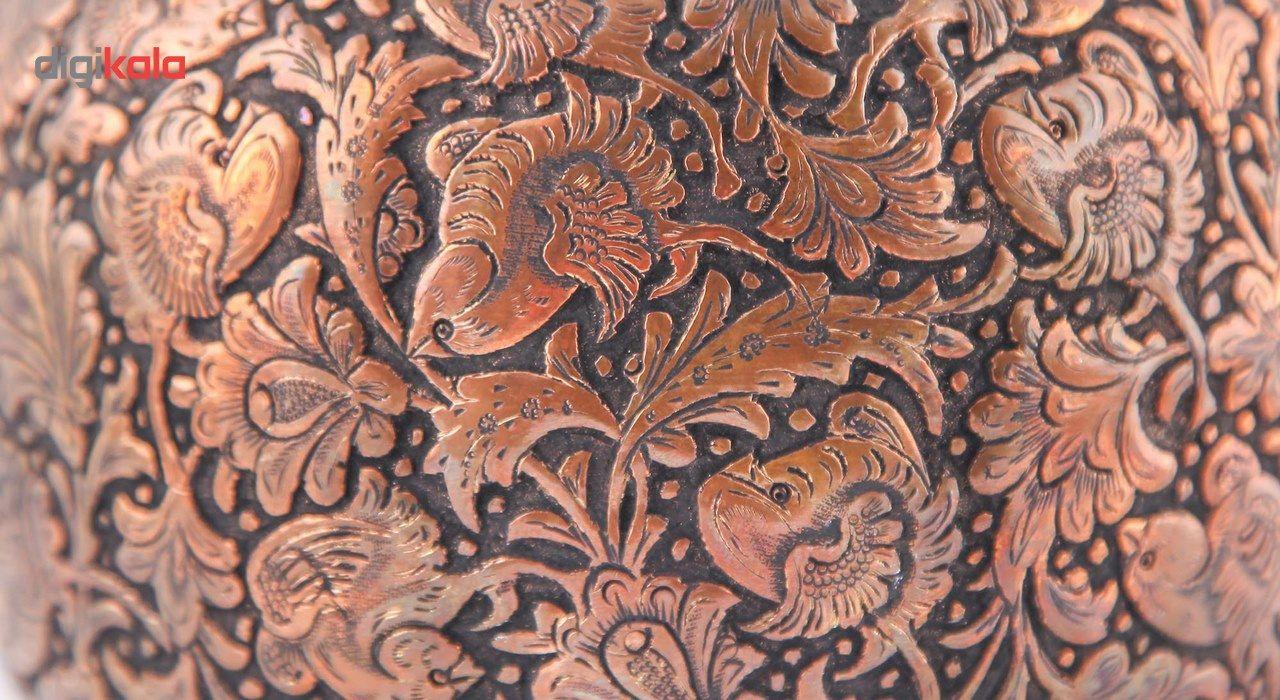 گلدان قلمزنی گالری مثالین طرح گل و مرغ کد 149001