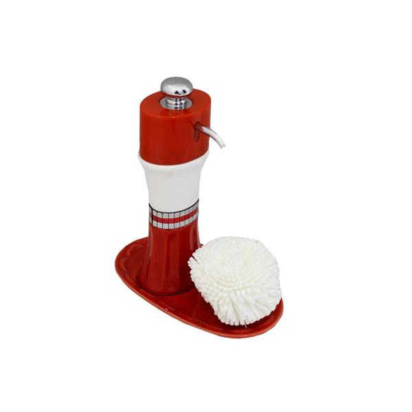 پمپ مایع ظرفشویی آتریسا به همراه اسکاچ مدل Red Oval
