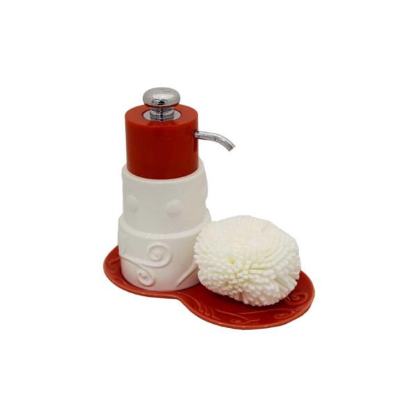 پمپ مایع ظرفشویی آتریسا به همراه اسکاچ مدل Red 3Circle
