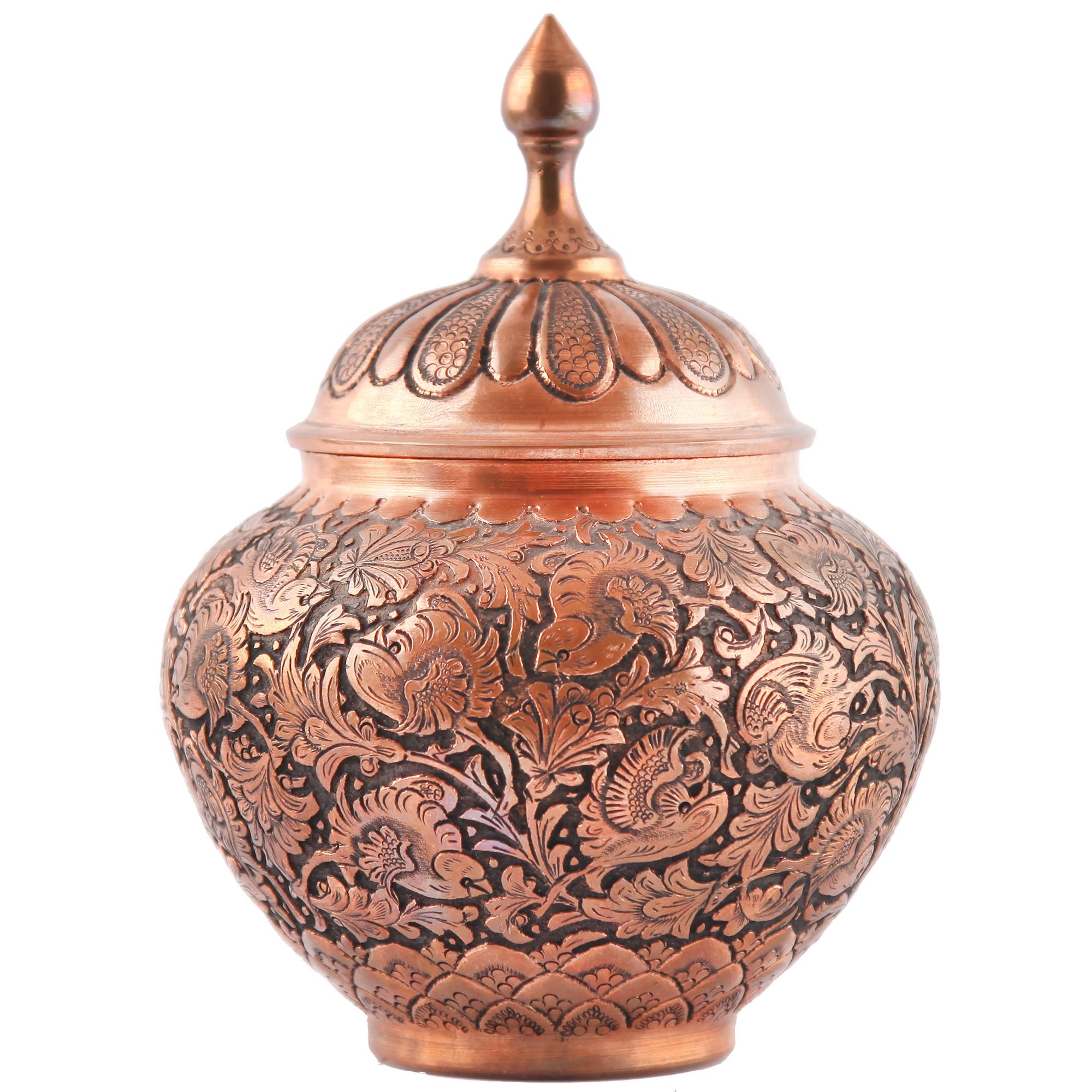 قندان قلمزنی گالری مثالین طرح گل و مرغ کد 149006