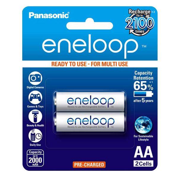 باتری قلمی قابل شارژ پاناسونیک مدل Eneloop BK-3MCCE/2BT بسته 2 عددی
