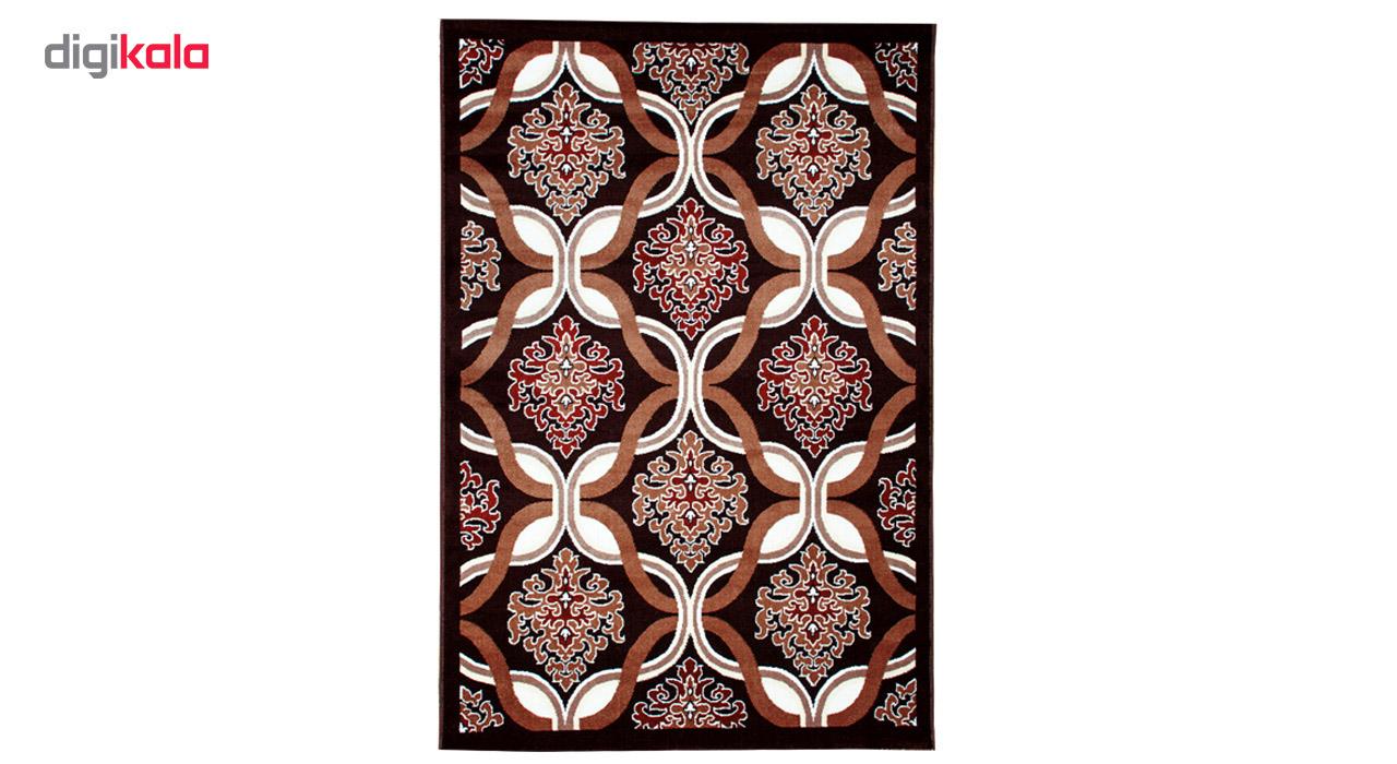 فرش ماشینی سهند کد SL25.XI طرح فانتزی زمینه قهوه ای