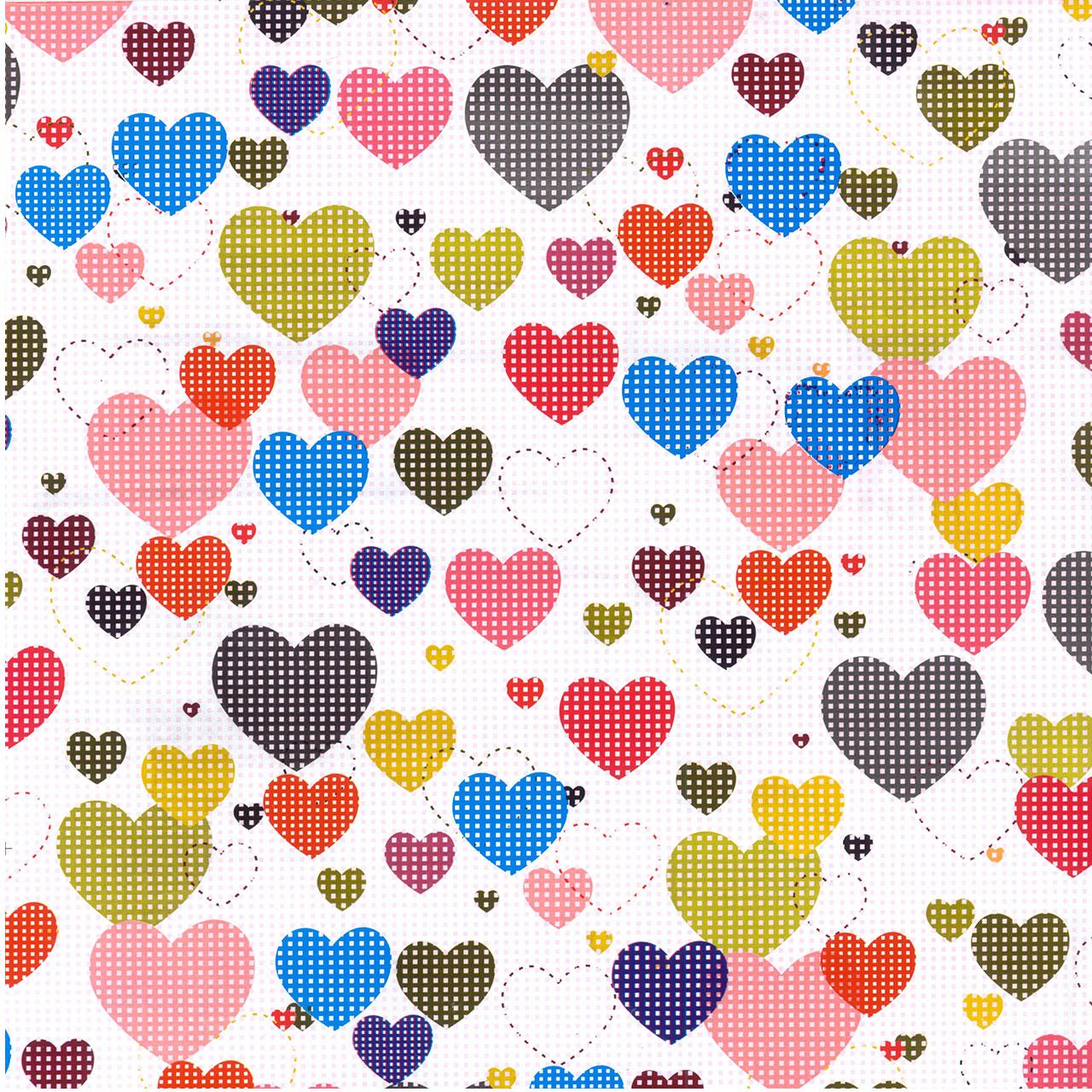 کاغذ کادو گلاسه طرح قلب رنگی کد 0116 بسته 4 عددی