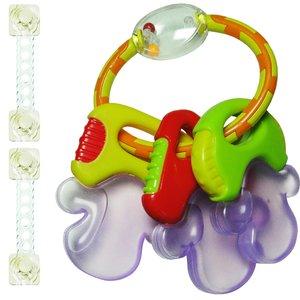 دندان گیر و جغجغه مدل Toys Word همراه 2 عدد قفل کابینت مدل ایمن ساز