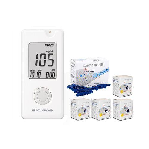 دستگاه تست قند خون بایونیم مدل GM110 به همراه چهار بسته نوار تست و یک بسته سوزن
