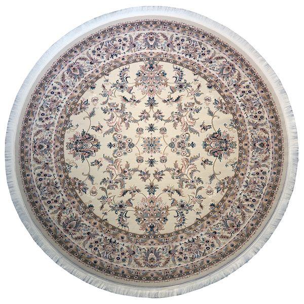 فرش ماشینی فرش رادین اصفهان طرح گرد نفیس شاه عباسی رنگ زمینه صدفی