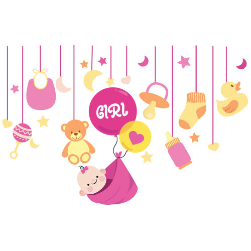 استیکر دیواری سالسو طرح baby girl h.k