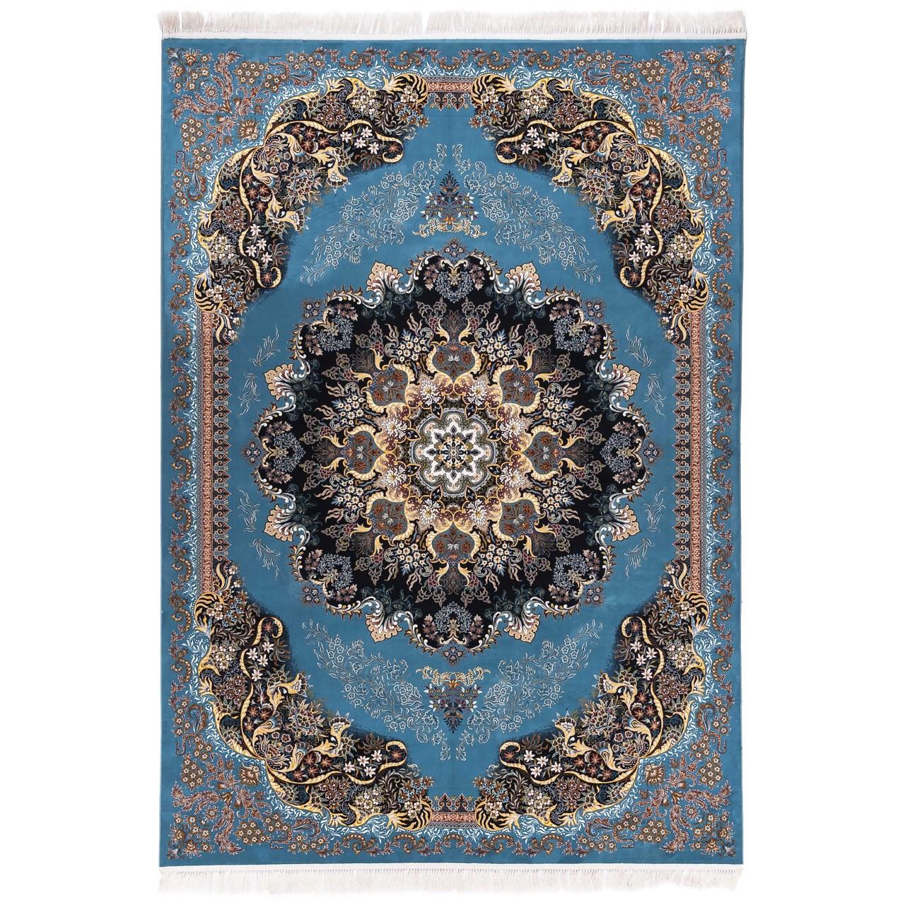 فرش ماشینی آدینا طرح گیسو زمینه آبی