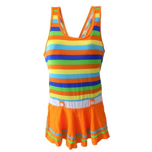 مایو دخترانه مدل رنگین کمان نارنجی