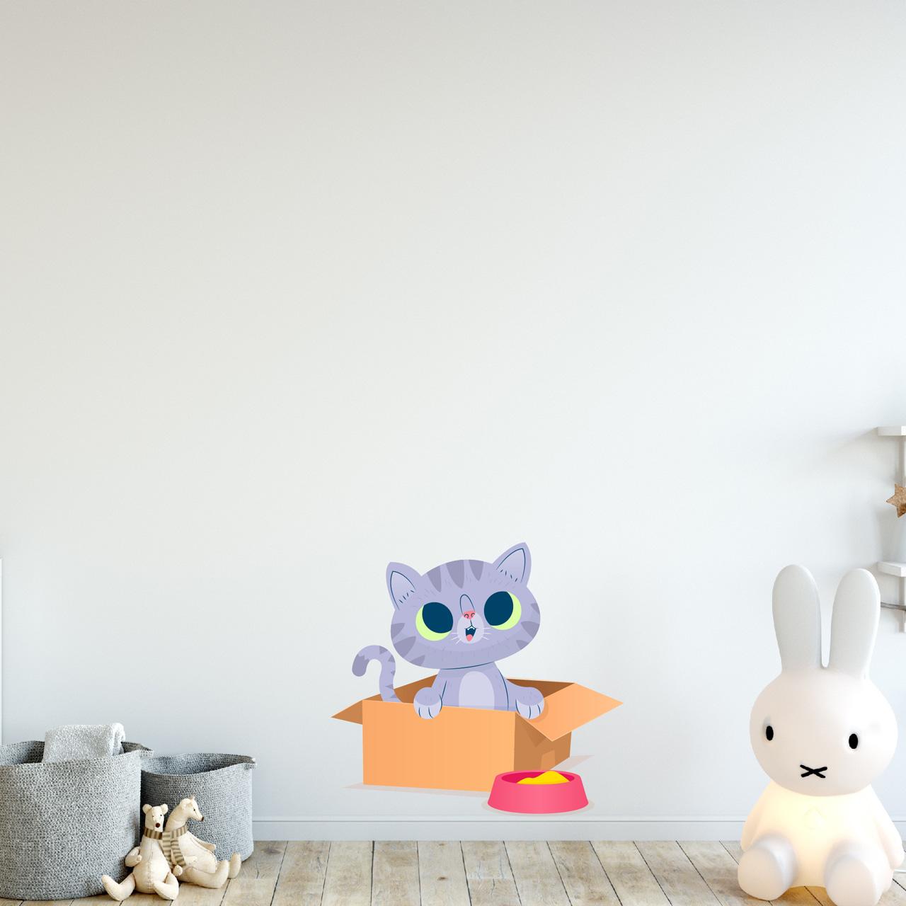 استیکر دیواری کودک هفال طرح پیشی بازیگوش کد 68a