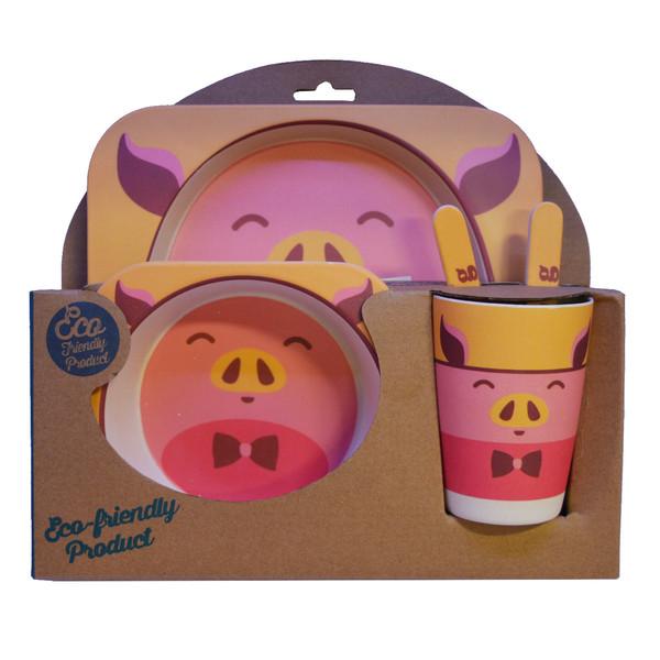 ست 5 تکه ظرف غذا کودک مدل خوک