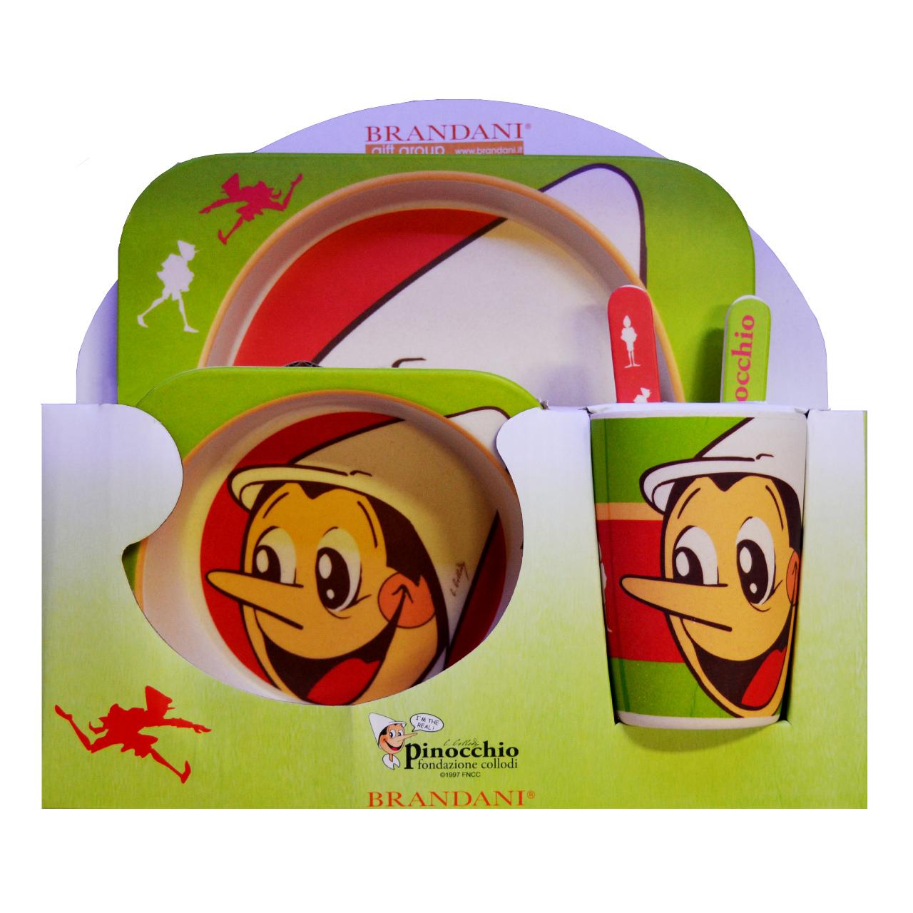 ست 5 تکه ظرف غذا کودک مدل پینوکیو