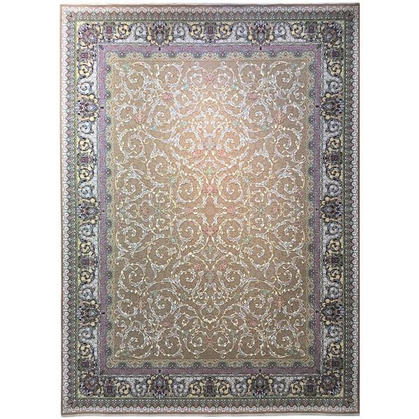 فرش ماشینی عظیم زاده طرح افشان اسلیمی گل برجسته کد 9003