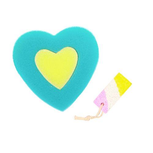 اسفنج حمام مدل قلب به همراه سنگ پا مدل Sreps