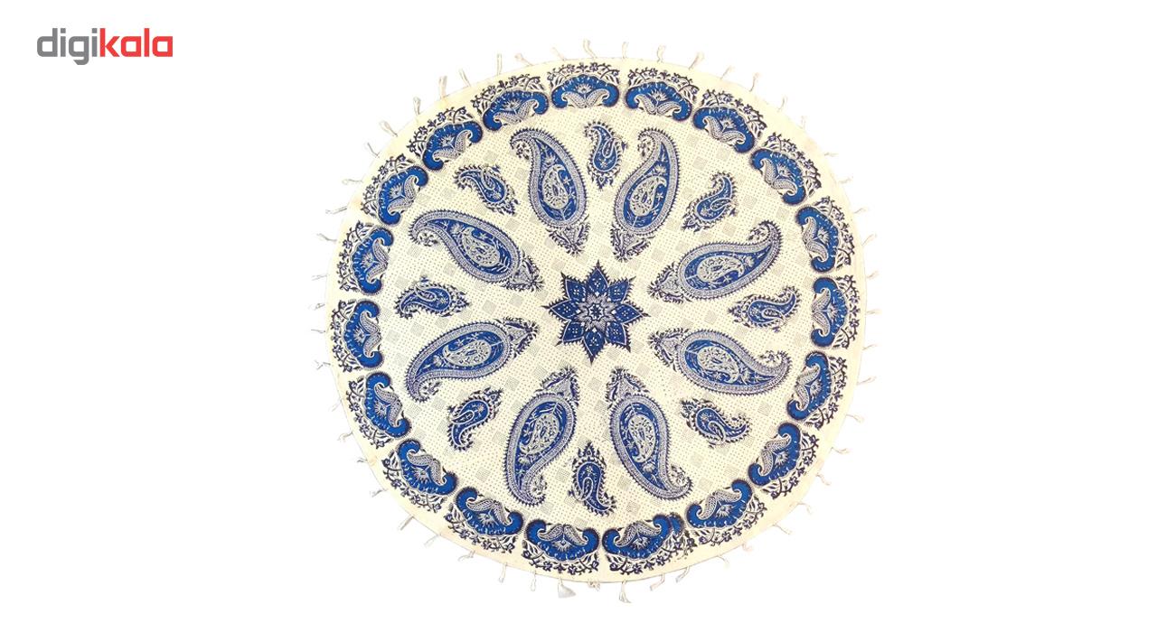 رومیزی قلمکار لوح هنر طرح بته جقه کد 193 سایز 100×100 سانتی متر