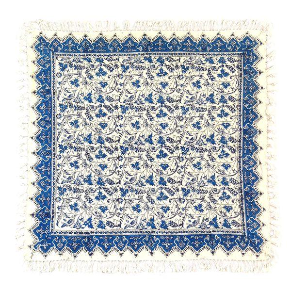 رومیزی قلمکار لوح هنر طرح خوشه انگور آبی کد 194 سایز 100×100 سانتی متر