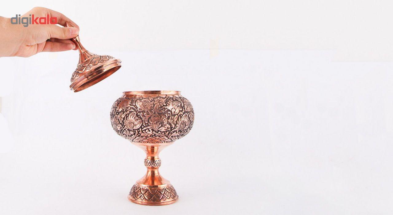 شکلات خوری قلمزنی گالری مثالین طرح گل و مرغ کد 149092