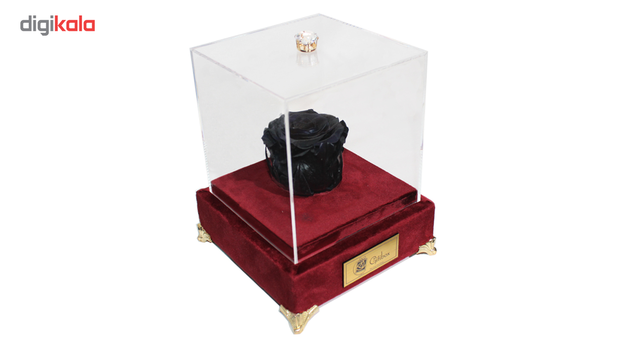 جعبه تک گل ماندگار گیتی باکس مدل رز جاودان مشکی لاکچری آکاژو