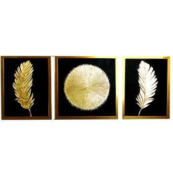 تابلو نقاشی ورق طلا طرح پر و خورشید کد 113 مجموعه 3 عددی