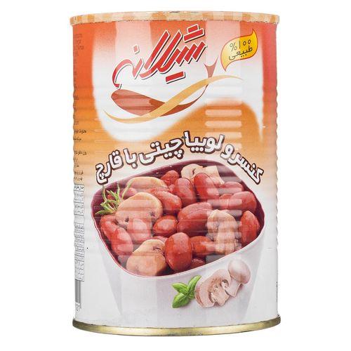 کنسرو لوبیا چیتی با قارچ شیلانه مقدار 425 گرم
