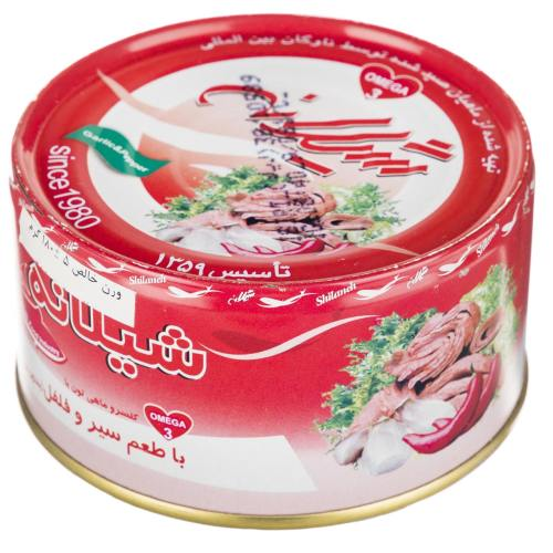 کنسرو ماهی تن با طعم سیر و فلفل شیلانه مقدار 180 گرم
