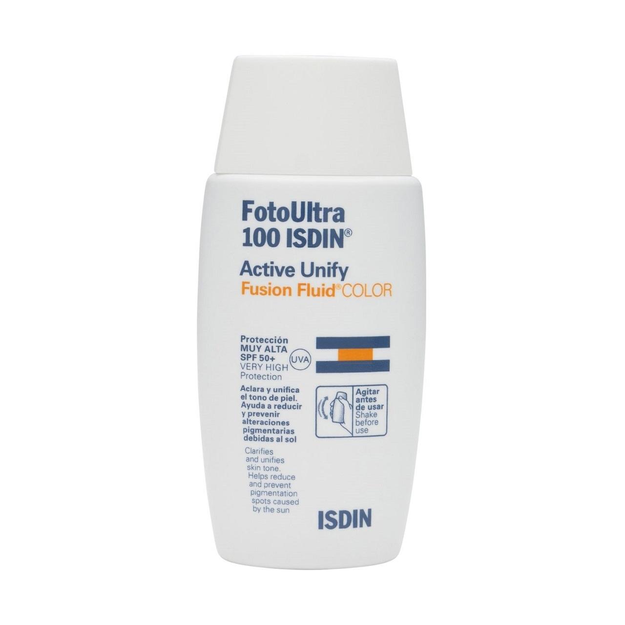 فلویید ضد آفتای ایزدین مدل Active unify fusion fluid color spf 50 حجم 50 میلی لیتر