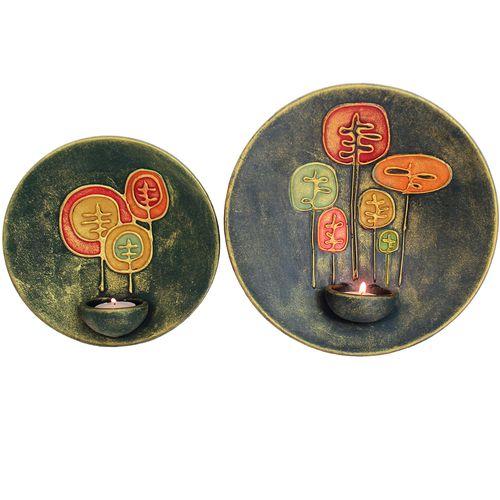 شمعدان سفالی گالری دست نگار طرح بشقابی مدل درختان بلوط مجموعه 2 عددی