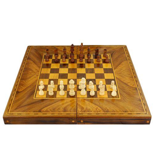 شطرنج و تخته نرد اوستا طرح معرق مدل چوب گردو جنگلی سایز 50 سانتی متر