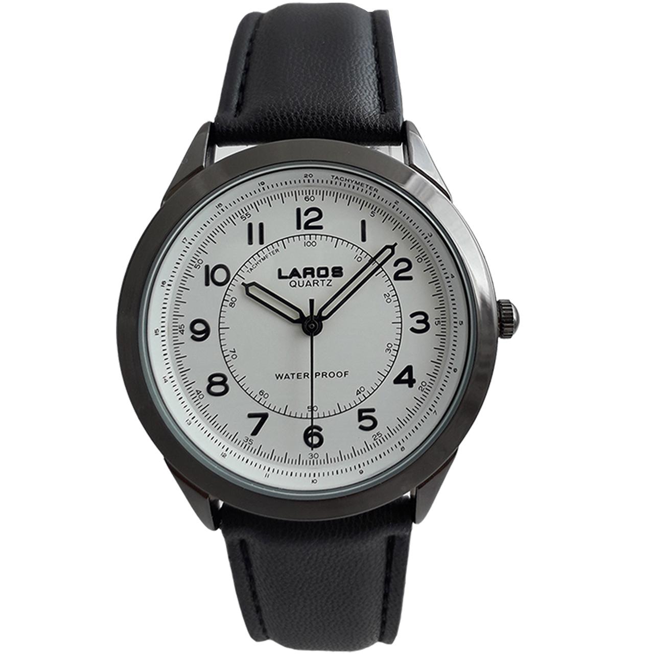 ساعت مچی عقربهای مردانه لاروس مدل 80047Sبه همراه جاسوئیچی با طرح آچار فرانسه مدل JK108