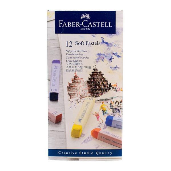پاستل گچی 12 رنگ فابر کاستل مدل faber-12
