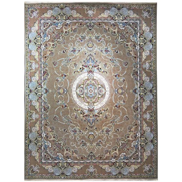 فرش ماشینی عظیم زاده طرح شاندیز گل برجسته کد 9018